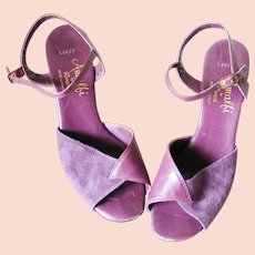4c3faacd99f Vintage 1970s Disco Era Italian Purple Leather and Suede Peep Toe Sling  Back Strappy Heels Shoes