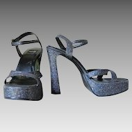Vintage Formula X Tall Strappy Platform Glitter Shoes Heels Sling Backs Open Toes