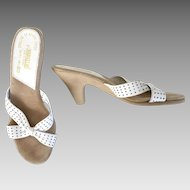 Vintage 1970s Made In Brazil White Leather Peep Toe Slip On Mules by Rapallo M