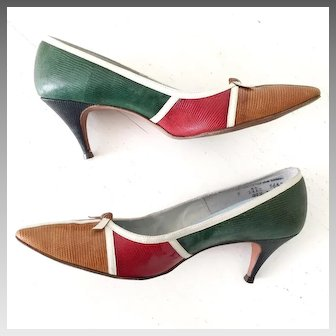 Vintage 1960s Color Block Shoes Heels in Red Gold Forest Green and Black with White Trim