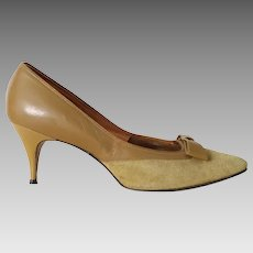 Vintage 1960s Harvest Gold Suede and Leather High Heels  with Bows