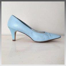 Vintage 1960s Sky Blue Heels Shoes Pumps by Smartaire 7B
