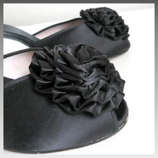 Vintage 1950s Daniel Green Black Satin Rosette PomPom Peeptoe Boudoir Slippers Slides Mules Shoes