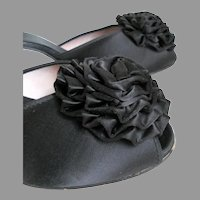 Vintage 1950s Daniel Green Black Satin Rosette PomPom Peeptoe Boudoir Slippers Shoes