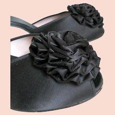 Vintage 1950s Daniel Green Black Satin Rosette PomPom Peeptoe Boudoir Slippers Shoes