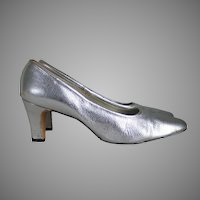 Vintage 1970s Silver Shimmer Shoes High Heels by Connie