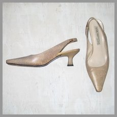 Vintage 1990s Metallic Gold Embossed Reptile Print Sling Back Heels Made in Italy 8 1/2 M