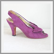 1970s Vintage Purple Suede Sling Back Peeptoe Heels Bonnie Smith for Kimel
