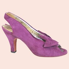 1970s Vintage Purple Suede Sling Back Peeptoe Heels Bonnie Smith for Kimel