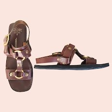 Vintage 1970s Leather Brass Rubber Sole Rajpur Hippie Sandals Unisex