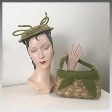 Vintage 1950s Olive Green Velvet and Natural Woven Straw Hat and Purse Handbag Set