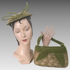 Vintage 1950s Olive Green Velvet and Natural Woven Straw Hat and Purse Handbag Set