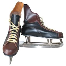 Vintage 1970s Two Tone Black Brown Ice Skates Hockey SSS Tempered Steel Japan WINTER SALE