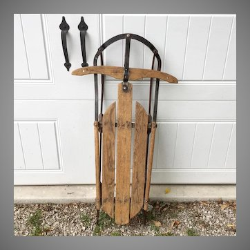 Vintage Working Snow Sled Wood with Metal Runners Christmas Holiday Outdoor Sports Winter Decor