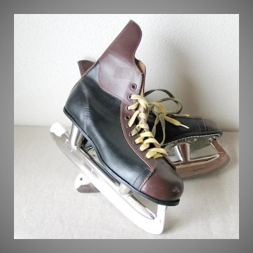 Vintage 1970s Two Tone Ice Skates Hockey SSS Tempered Steel Japan