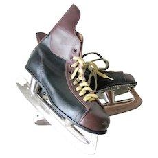 Vintage 1970s Two Tone Ice Skates Hockey SSS Tempered Steel Japan