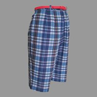 Vintage 1960s Navy Blue Red and Gold Madras Plaid Shorts S M