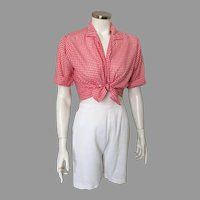 Vintage 1950s White All Cotton Twill Catalina Shorts Play-Abouts XS S