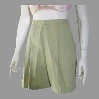 Vintage 1960s Sage Green Cotton Summer Shorts S M W28