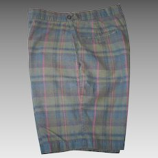 Classic Vintage 1960s McGregor Dark Madras Plaid Flat Front Shorts M for Guys but Girls Can Wear Them M