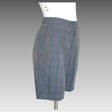 Vintage 1960s Farah of Texas Dark Madras Plaid Flat Front Tab Shorts S