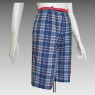 Vintage 1960s Navy Blue Red and Gold Madras High Waist Plaid Shorts S M