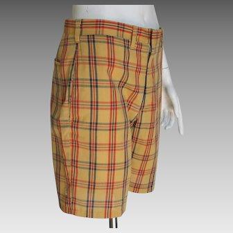 Vintage 1960s Haggar Snug Duds Forever Prest Plaid Shorts Gold Red Navy Blue S M