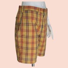Vintage 1960s Haggar Snug Duds Forever Prest Plaid Shorts Gold Red Navy Blue