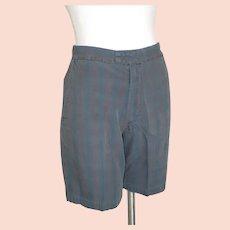 Vintage 1960s Farah of Texas Dark Madras Plaid Flat Front Tab Shorts S