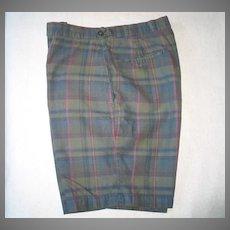 Classic Vintage 1960s McGregor Dark Madras Plaid Flat Front Shorts M