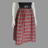 Vintage 1970s Khaki Black Red Yellow White Plaid Button Front Office College Skirt S