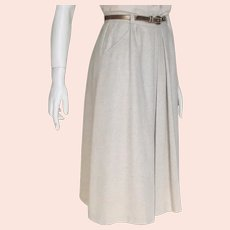 Vintage 1970s Oatmeal Fall Winter Skirt with Bronze Metallic Finish Skinny Belt XS S