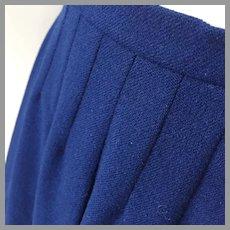 Vintage 1950s Classic Dark Blue Dalton Wool Pleated Skirt S