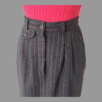 Vintage 1970s Red Black Pinstripe Winter Skirt S