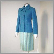 Vintage 1960s Blue & Green Striped Virgin Wool Skirt W25