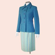 Vintage 1960s Blue & Green Striped Virgin Wool Skirt W25