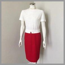 Vintage 1960s Red Downyspun Garland Winter Wool Straight Skirt XS
