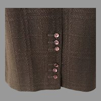 Vintage 1960s Espresso Brown Straight Skirt with Button Trim Kick Pleat by Tami Sophisticates San Francisco S