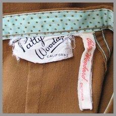 Vintage 1960s Patty Woodard California Modern Mini Skirt with Polka dot lined Waistband XS S
