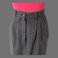 Vintage 1970s Red Black Pinstripe Winter Skirt S