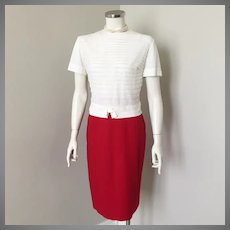 Vintage 1960s Red Garland Downyspun Winter Wool Straight Skirt XS W22