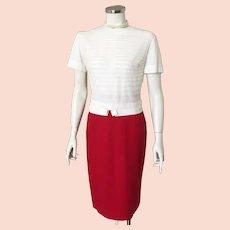 Vintage 1960s Red Garland Downyspun Winter Wool Straight Skirt XS W22