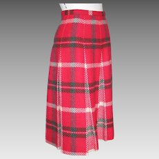 Vintage 1950s Garland Deep Pink Gray and Cream Pleated Plaid Winter Skirt XS S
