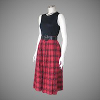 Vintage 1980s Red Novelty Plaid Cotton Pleated Skirt by Susan Bristol S