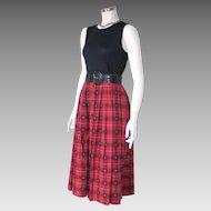 Vintage 1970s Red Novelty Plaid Cotton Dirndl Skirt by Susan Bristol S