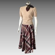 Vintage 1970s Bias Plaid Boot Skirt Maroon Cream Gray Camel S