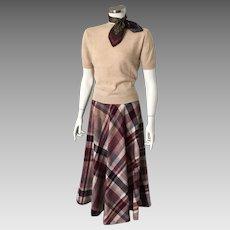 Vintage 1970s Bias Plaid Boot Skirt Maroon Cream Gray Camel S