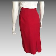 Vintage 1960s Red Garland Downyspun Winter Wool Straight Skirt XS