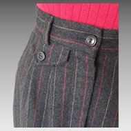 Vintage 1970s Pinstripe Winter Woolen Office Collegiate Skirt