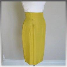 Vintage Late 80s Tahari Silk Chartreuse Fitted Straight Skirt Toreador Waist M